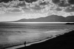 alene på stranden