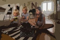 2017-07-Fritskrabning, Tre søskende spiser is